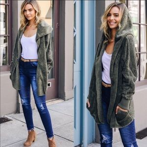 Jackets & Blazers - Olive green Sherpa fleece hooded jacket